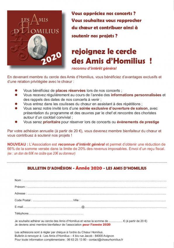 Bulletin amis homilius 2020